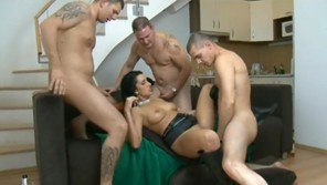 Gipsy bitch fucked by three men