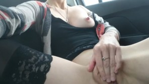 Pretty girl masturbates in real taxi cab