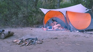 Amateur couple is enjoying perfect sex in nature