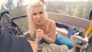 Public blowjob and fucking with sweet blonde