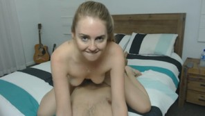 Blonde chick fucked hard on bed