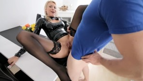 German blonde chick fucks in latex