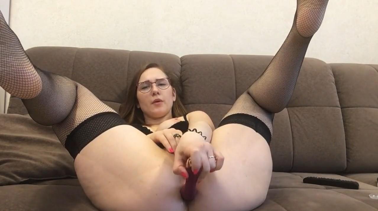 Hot brunette masturbates on skype conference