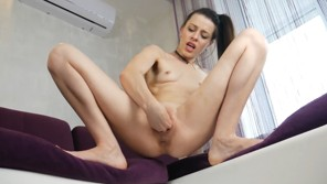 Skinny girl fisting herself until squirt