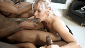 Interracial gangbang with horny blonde