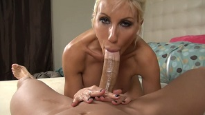 Milf blonde whore takes care abou huge cock