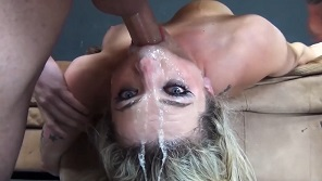 Horny milf blonde loves hot cum on her face