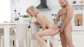 Cute blonde tyried anal in the kitchen