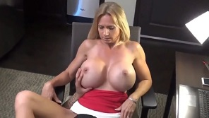 Milf babe with huge fake tits hardly fucked