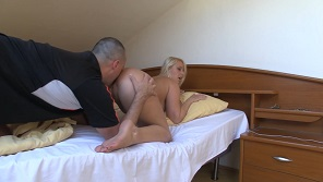Home anal with pretty long haired blonde
