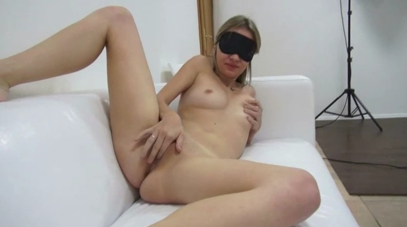 Czech Casting - Blonde babe with mask masturbates on casting