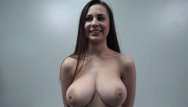 Czech Casting - Long haired babe with huge natural tits