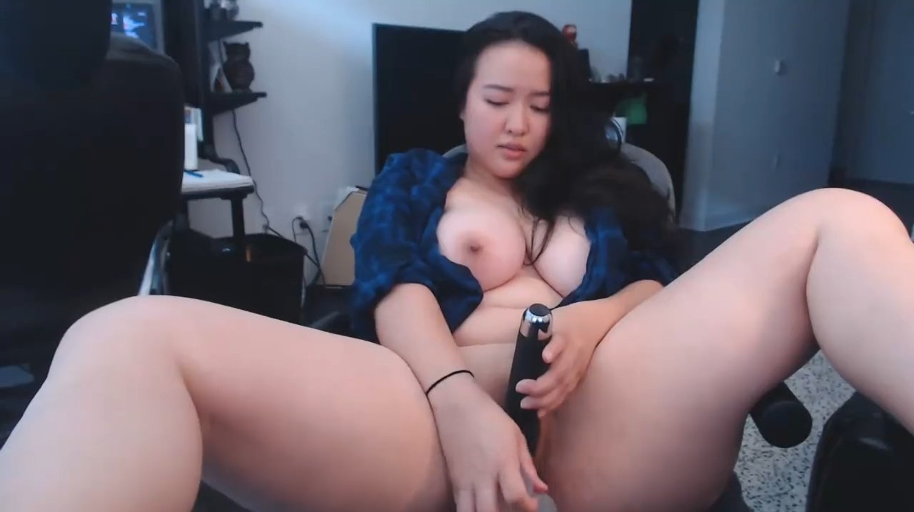 Busty asian babe with perfect tits masturbates