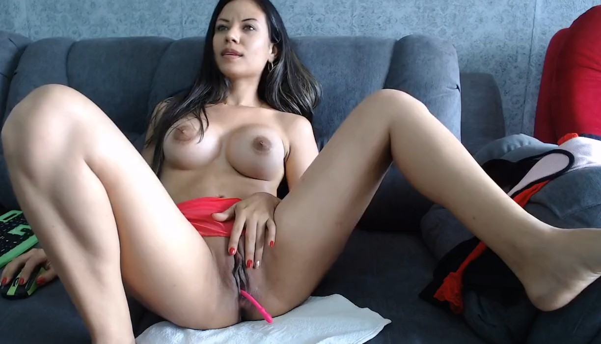 Perfect busty babe playing with her pussy