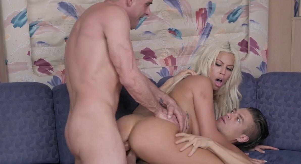 Double penetration sex for busty blonde milf