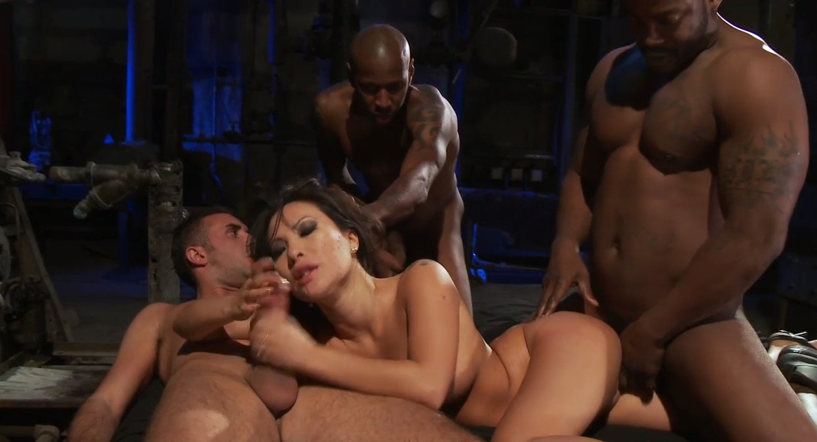Three guys are fucking horny asian slut