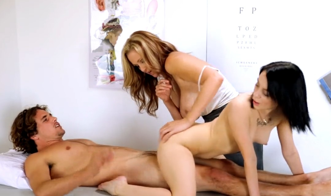 MomsTeachSex - Threesome with his girlfriend and her stepmom