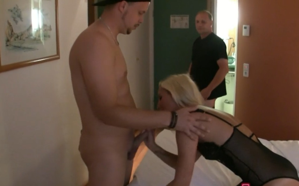 MyDirtyHobby - Blonde amateur slut and two horny guys