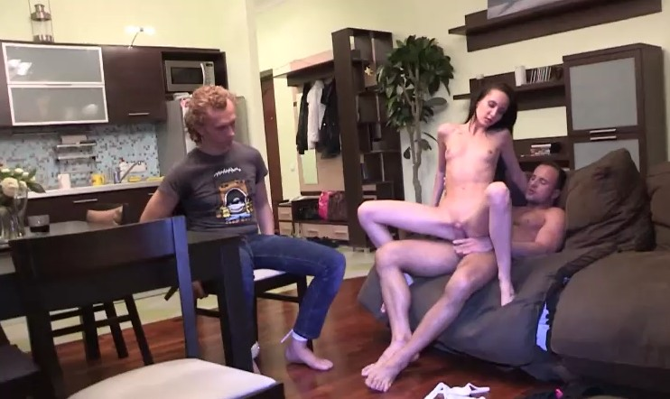 Make Him Cuckold - Brunette tied her boyfriend and fucks with other guy