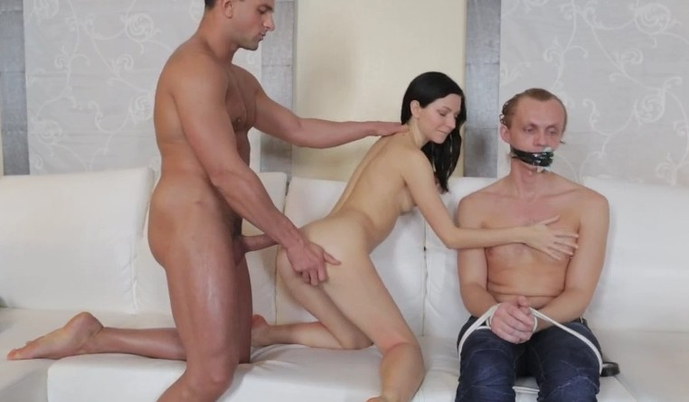 Make Him Cuckold - Fucking with other guy next to her boyfriend