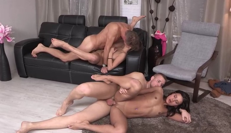 YoungSexParties - Foursome sex party in living room