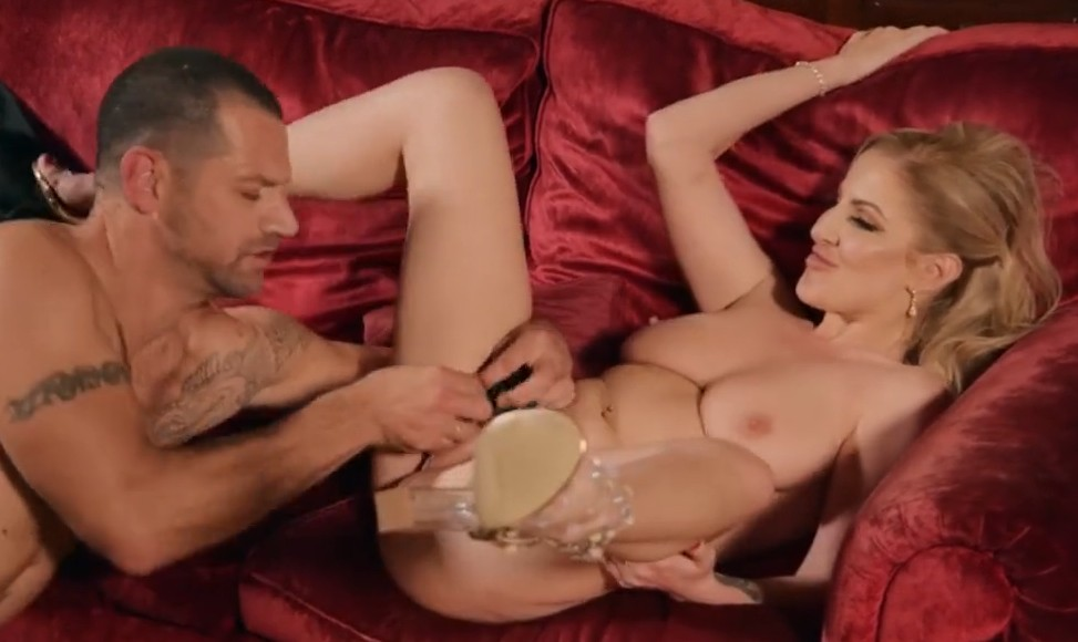 Babes - Busty chick Georgie Lyall  gets fucked on red sofa