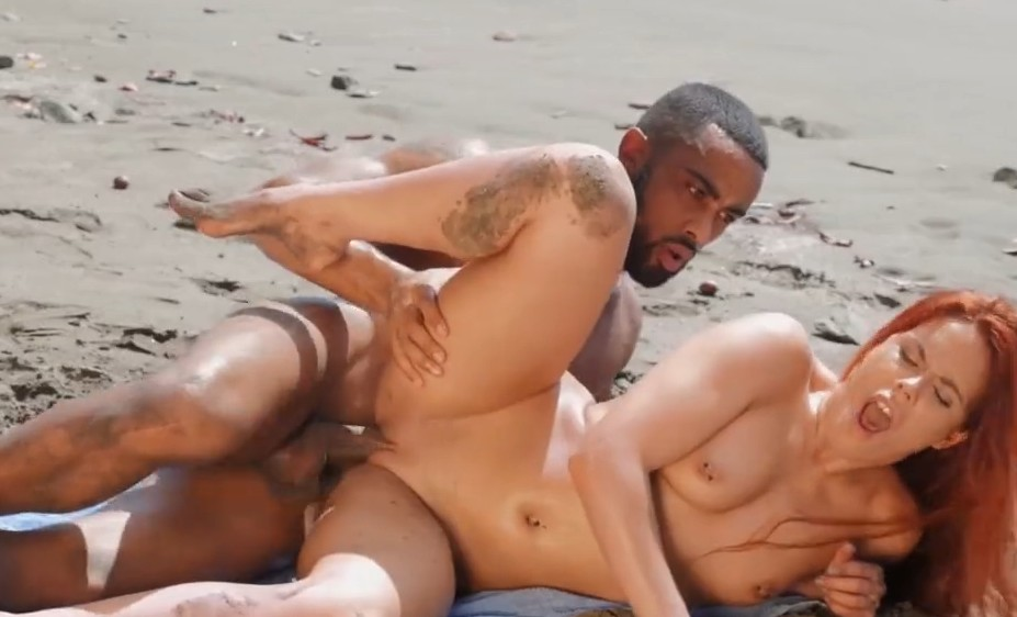 Babes - Redhead Ginger Gala gets fucked on beach
