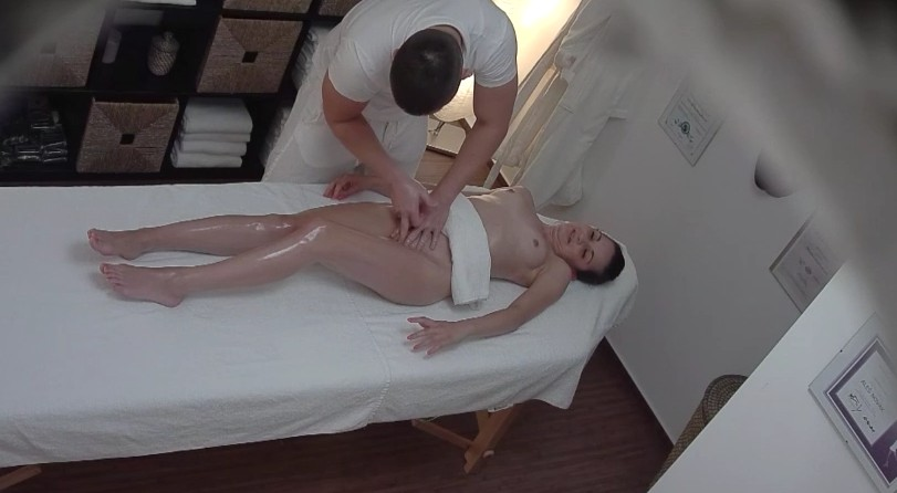 Czech Massage - Cute czech brunette babe enjoys the massage