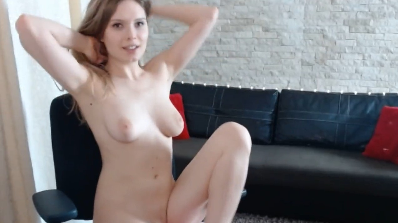 Cute babe plays with her pussy