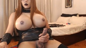 Busty shemale handjob herself
