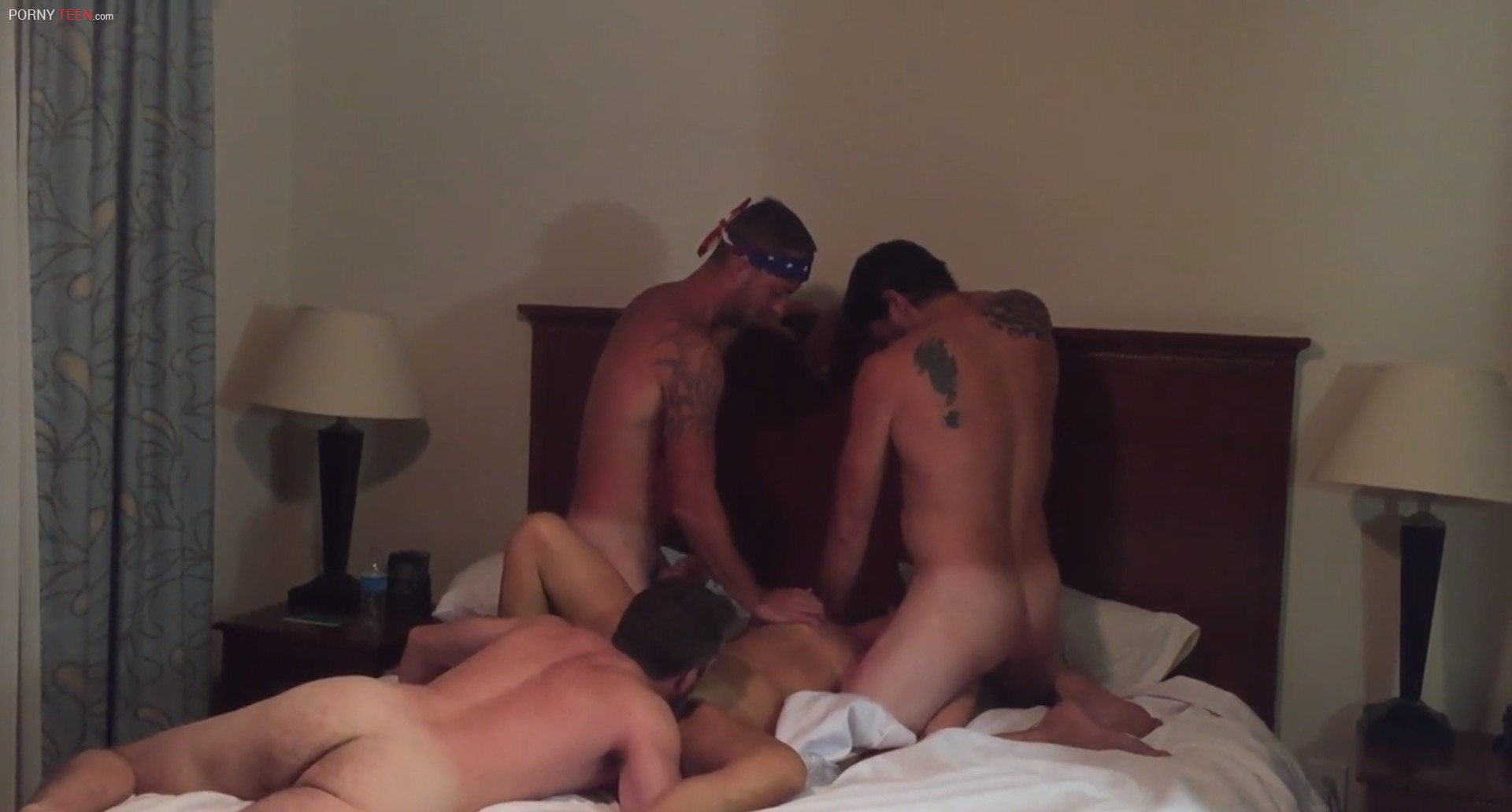 Horny bitch fucked hard by Three guys