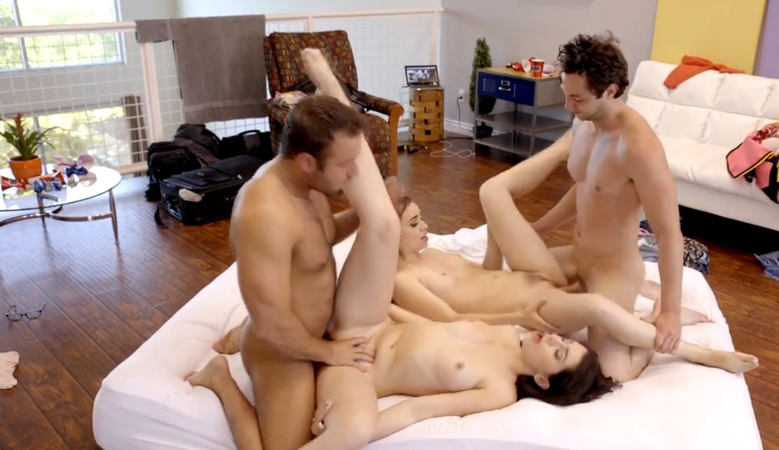 Foursome with hot brunette students